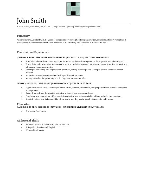Sample Administrative Assistant Resume